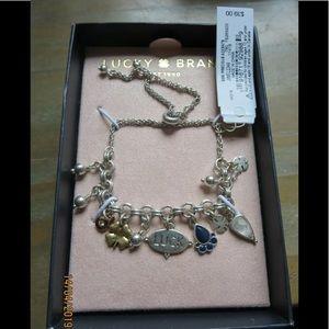 Lucky Brand charm bracelet clover luck lapis NIB